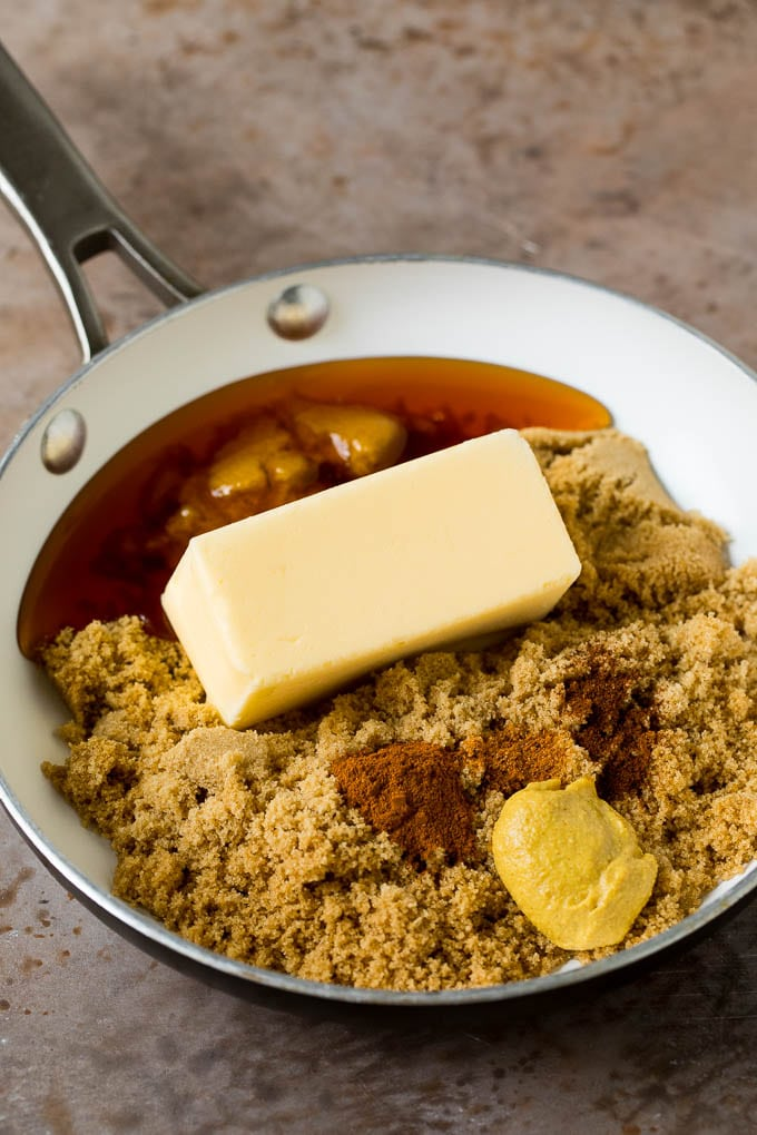 Butter, honey, brown sugar and spices in a pan.