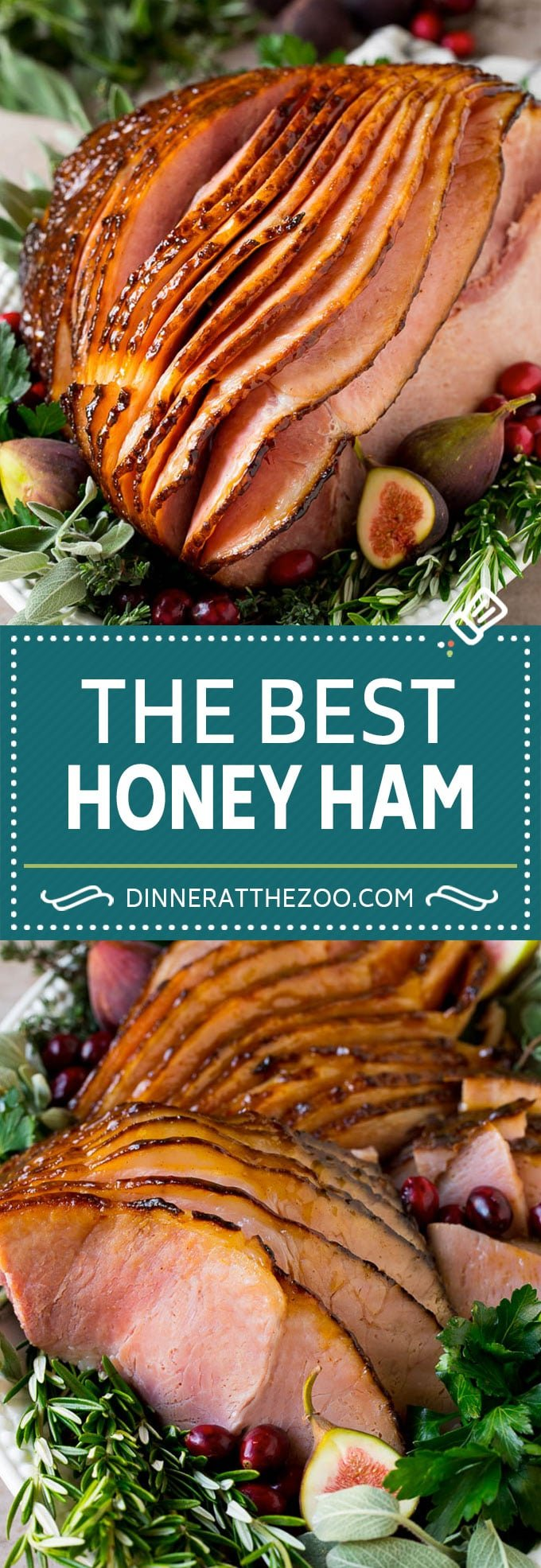 This honey glazed ham is a spiral cut ham, coated in honey and spices, then baked to golden brown perfection.