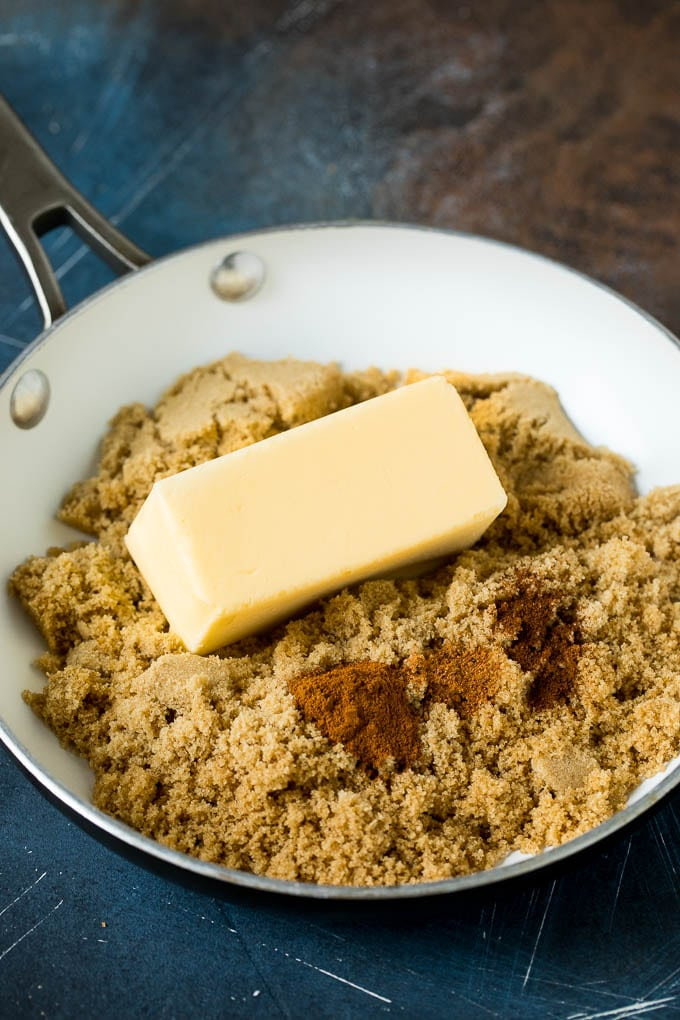 Brown sugar, butter and spices in a skillet.