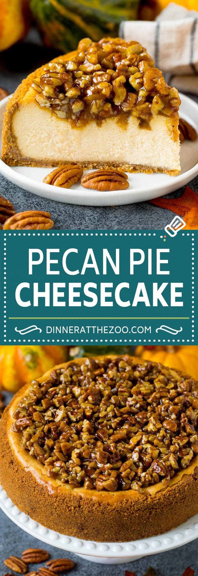 This pecan pie cheesecake is a creamy brown sugar cheesecake topped with a rich and decadent pecan sauce.