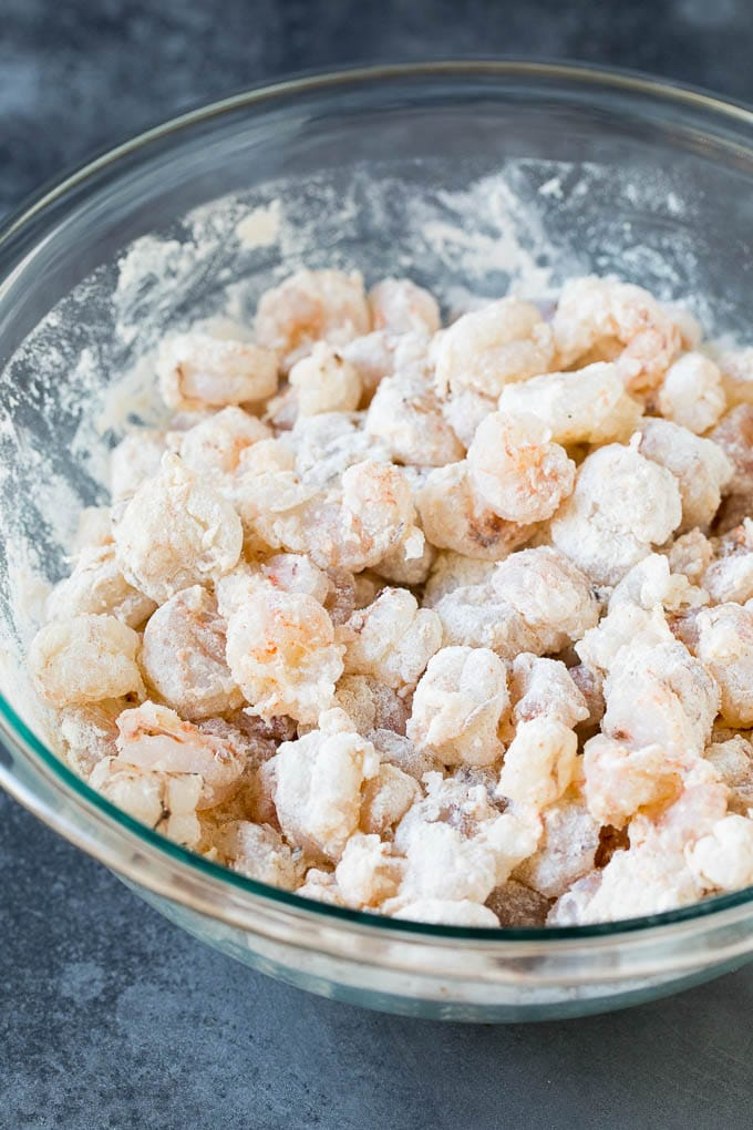 Shrimp coated in seasoned flour.