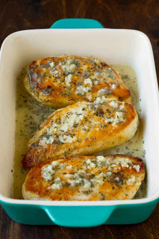Chicken breasts topped with a garlic and rosemary sauce.