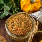 A jar of turkey rub made with brown sugar, herbs and spices.