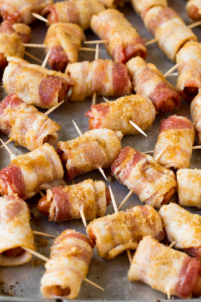 Little smokies wrapped in bacon and coated in seasonings.