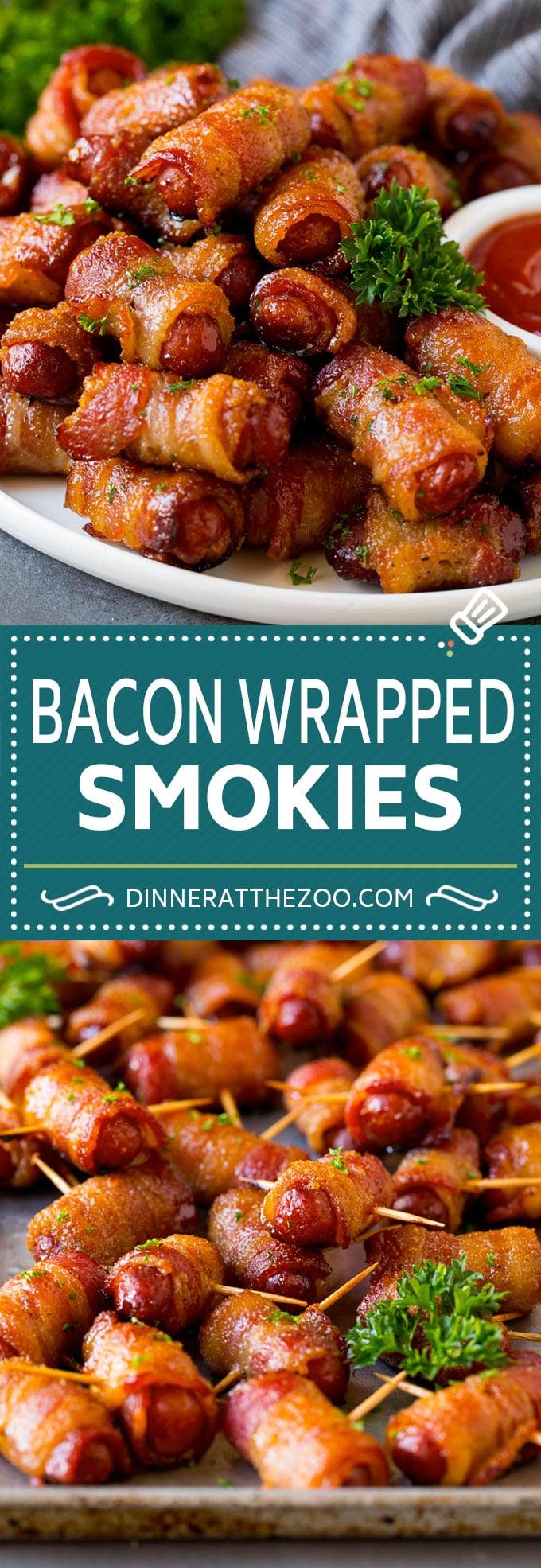 Bacon Wrapped Smokies Recipe #appetizer #bacon #sausage #dinneratthezoo