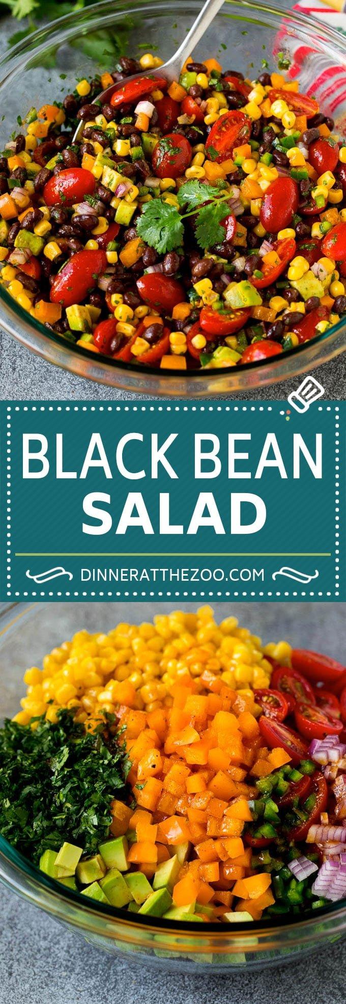 Black Bean Salad Recipe #beans #blackbeans #salad #healthy #dinneratthezoo #avocado