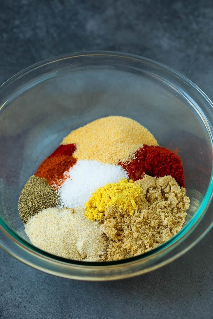 Brown sugar and spices in a mixing bowl.