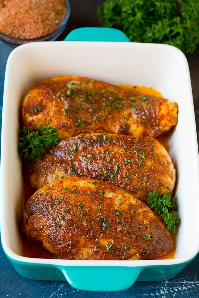 Cajun seasoning on top of baked chicken breasts.