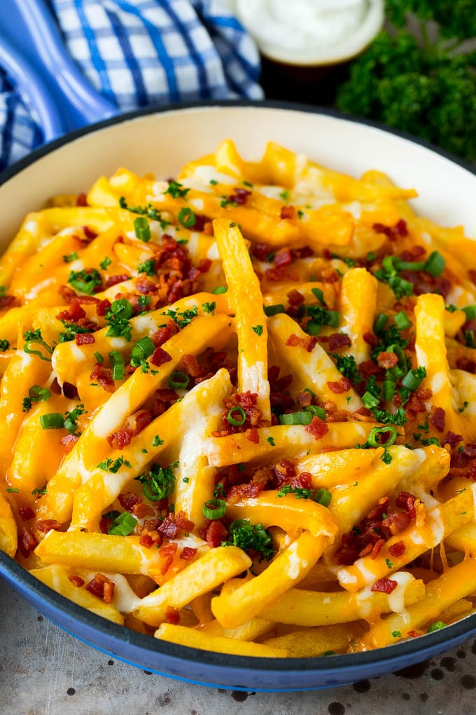 Cheese fries topped with bacon and green onions.
