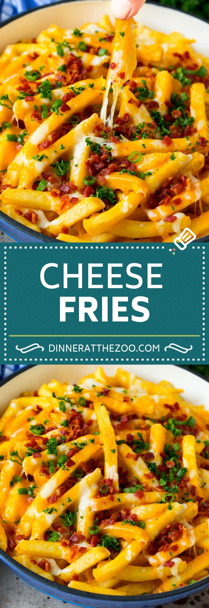 These cheese fries are crispy potatoes topped with plenty of melted cheese, bacon and herbs. #fries #dinneratthezoo