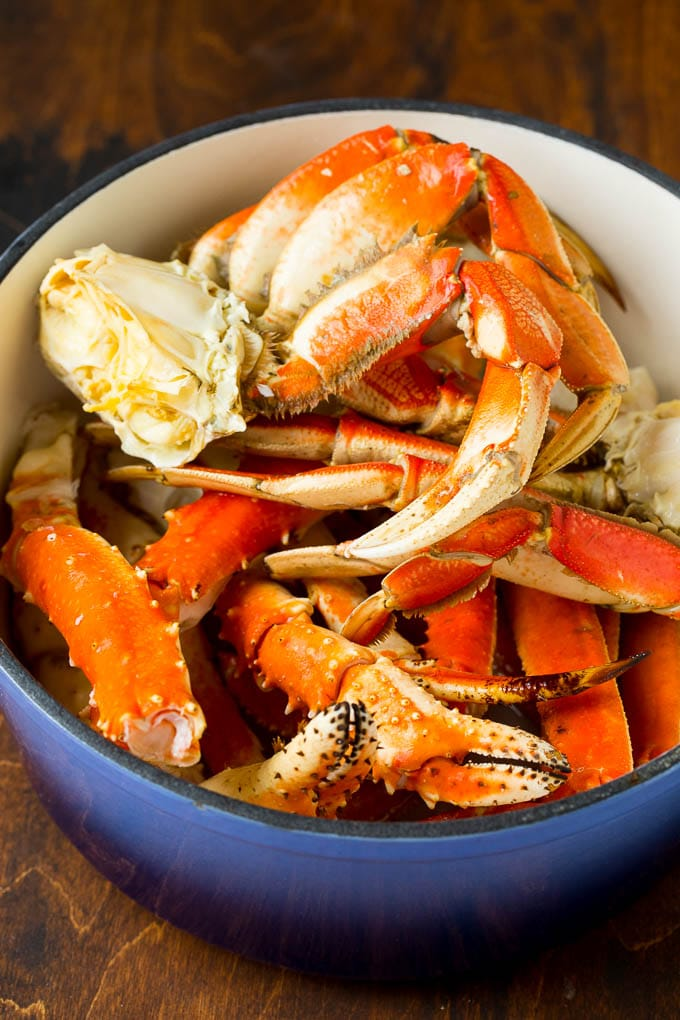 A pot of dungeness, king and snow crab.