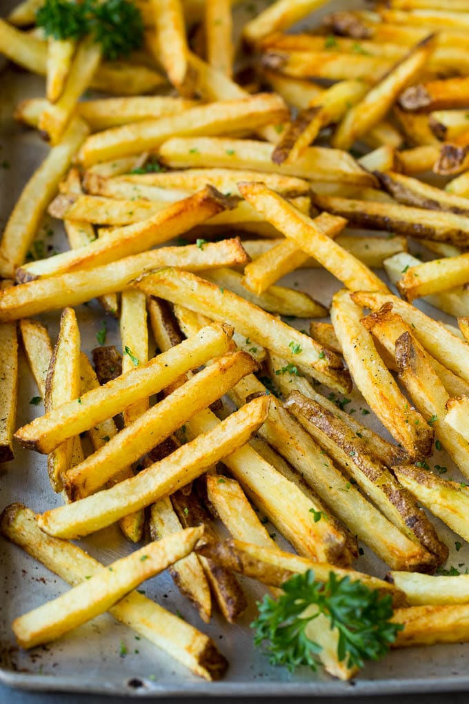 Homemade french fries on a sheet pan.