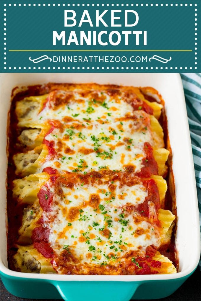Baked Manicotti Recipe #pasta #cheese #dinner #dinneratthezoo