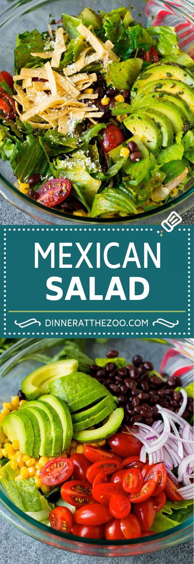 Mexican Salad Recipe #salad #corn #beans #avocado #tomatoes #dinneratthezoo