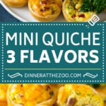 Mini Quiche Recipe #eggs #breakfast #brunch #appetizer #dinneratthezoo