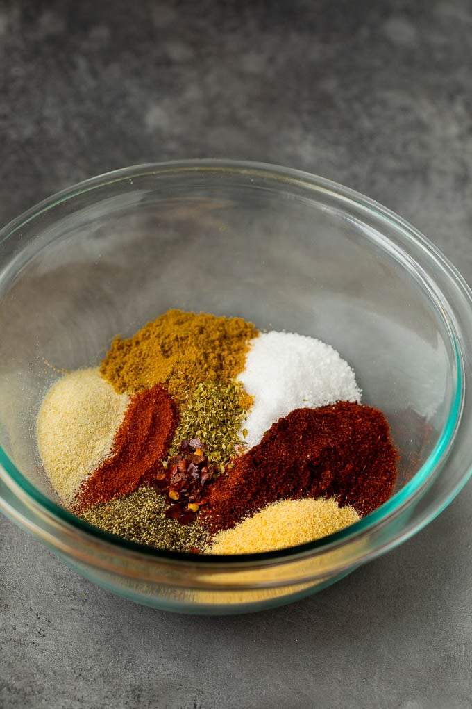 Herbs and spices in a mixing bowl.