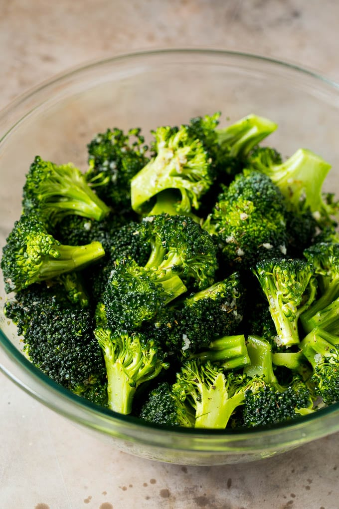 Broccoli tossed with olive oil, garlic and herbs.