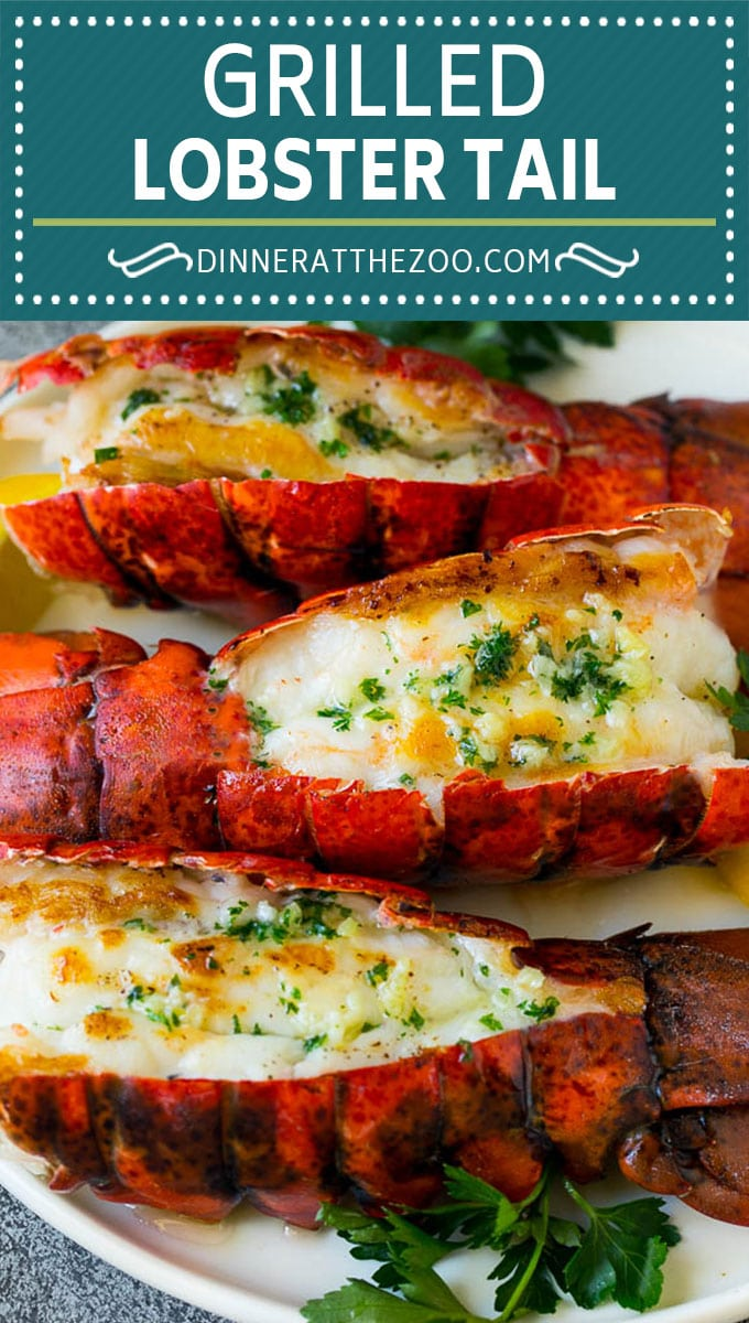 Grilled lobster tail drizzled with garlic butter is an easy and elegant dinner option. #lobster #dinneratthezoo