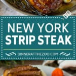 Seared New York strip steak with garlic and herb butter, an easy and elegant meal!