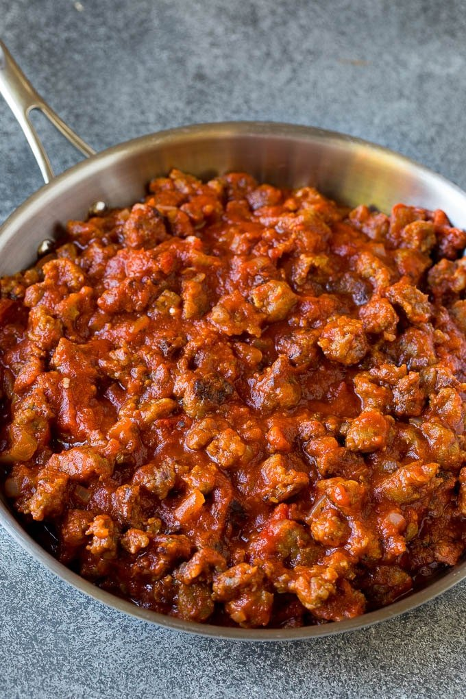 Meat pasta sauce in a skillet.