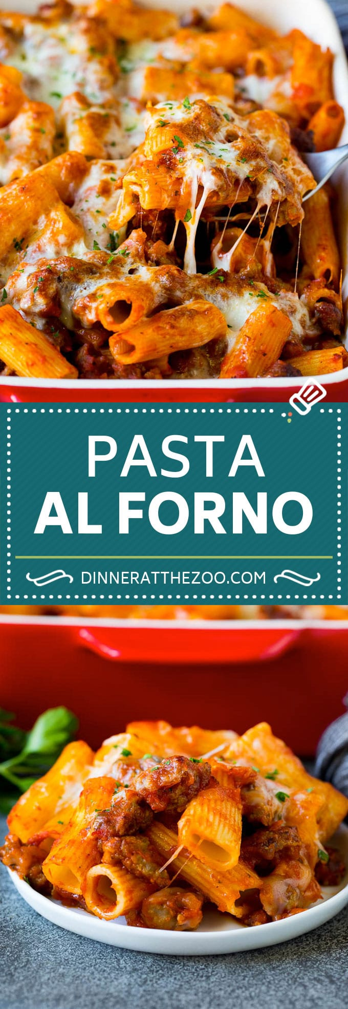 Pasta al Forno is hearty rigatoni noodles tossed in a savory meat sauce then topped with cheese and baked. #pasta #dinneratthezoo