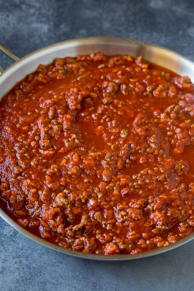 Meat sauce for pasta in a skillet.