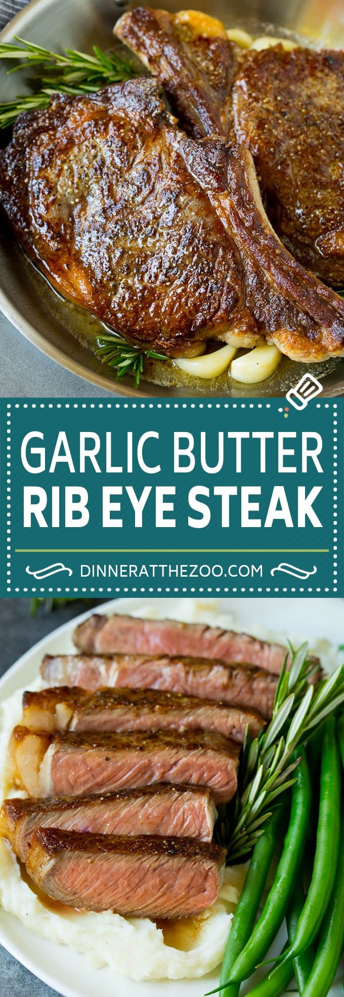 This rib eye steak recipe is tender and juicy beef seared to golden brown perfection, and topped with garlic butter and herbs.