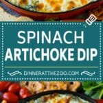 Spinach artichoke dip is a classic appetizer that's easy to make and gets rave reviews! #dip #dinneratthezoo