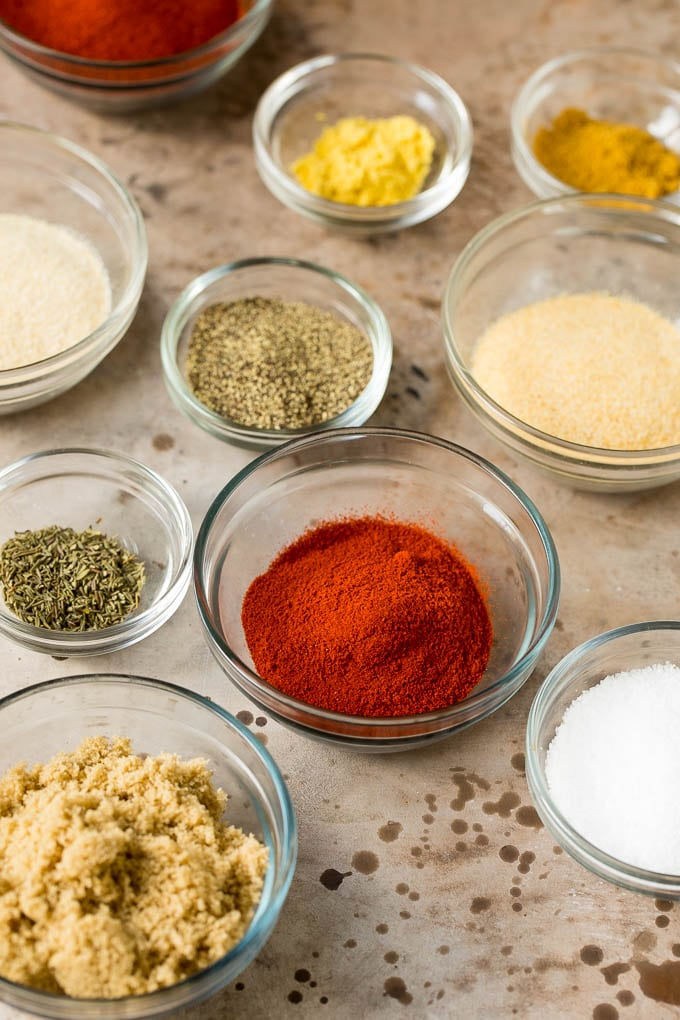 Spices in small bowls.
