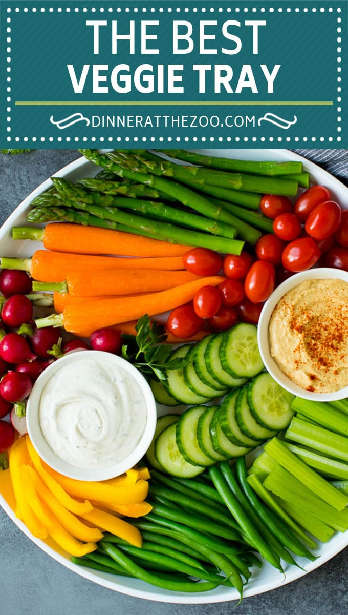 This homemade veggie tray is an assortment of colorful vegetables paired with a variety of flavorful dips.