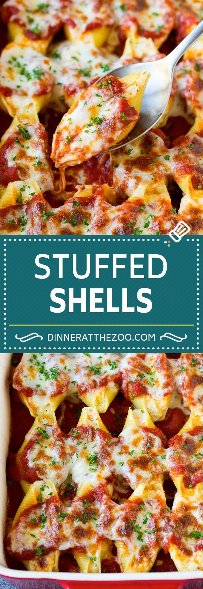 Baked stuffed shells filled with three types of cheese and topped with marinara sauce. #pasta #dinneratthezoo