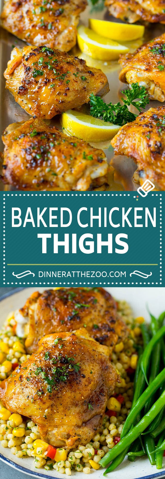 These baked chicken thighs are coated in olive oil, garlic and herbs, then oven roasted until golden brown.