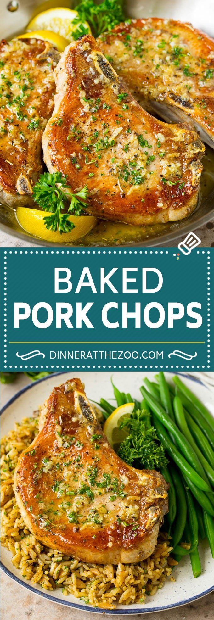 These baked pork chops are coated in garlic and herb butter, then oven roasted to golden brown perfection.