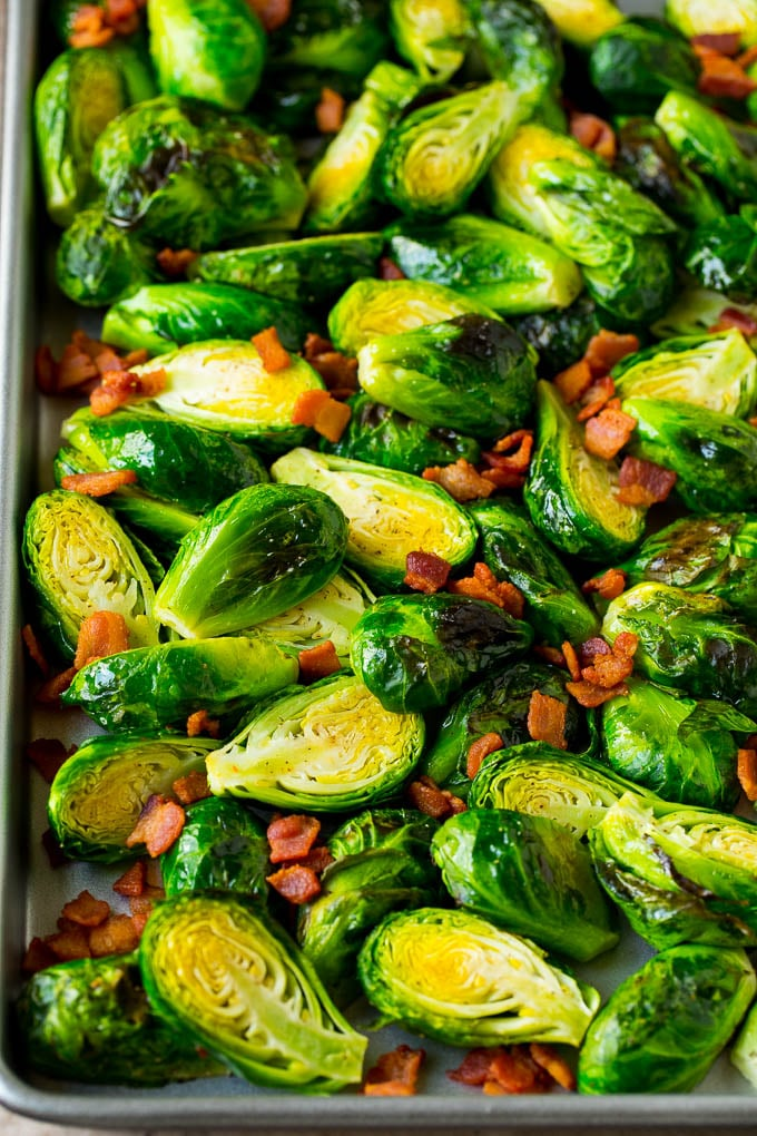 Roasted brussels sprouts and bacon.