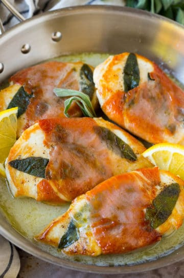 Chicken saltimbocca wrapped in prosciutto and served in a lemon sauce.
