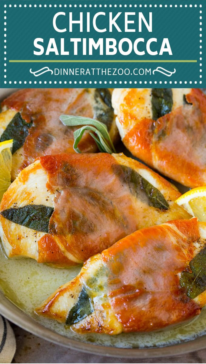 Chicken saltimbocca is chicken cutlets flavored with sage and prosciutto in a lemon sauce. #chicken #dinneratthezoo