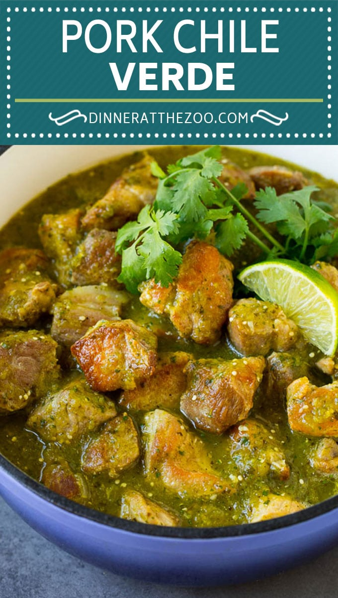This chile verde is chunks of pork in a green tomatillo sauce, all simmered together until the meat is fall-apart tender.