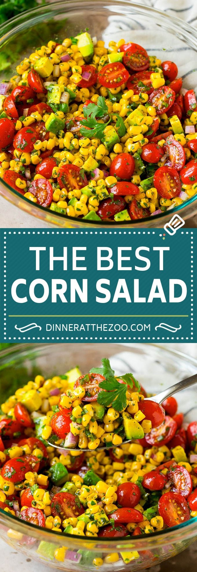 Easy corn salad with tomato and avocado, all tossed in a zesty lime dressing.