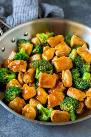 Ginger chicken and broccoli in a pan.