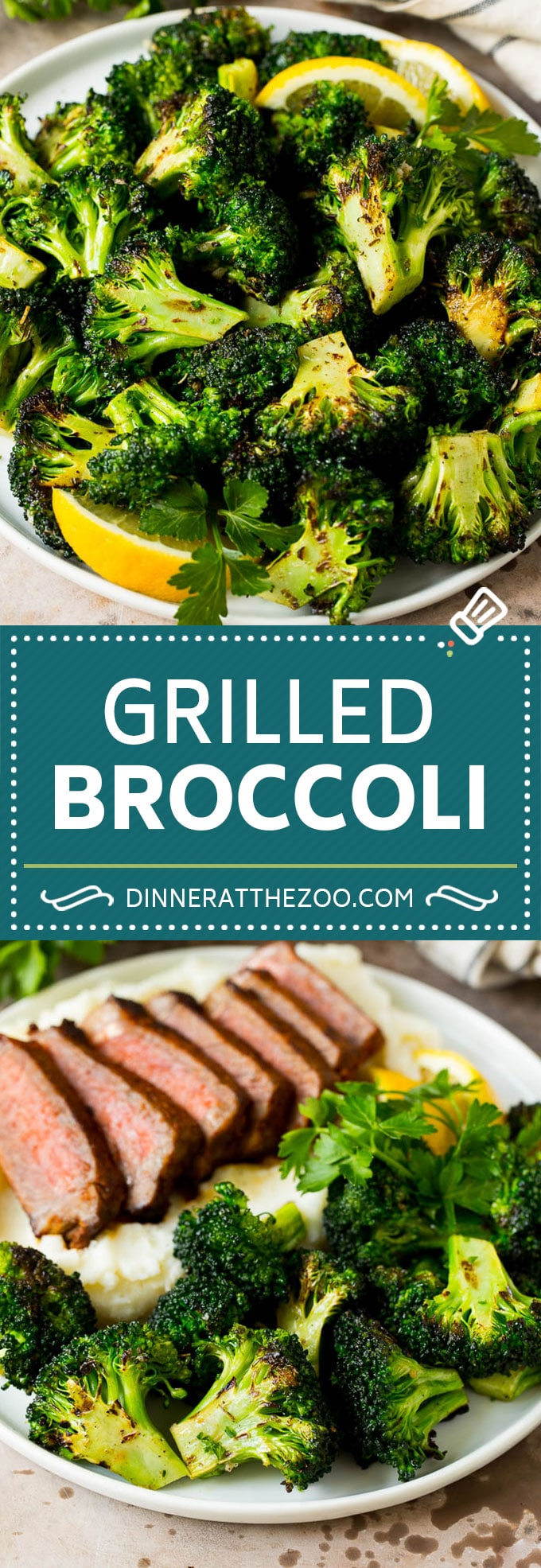 Grilled broccoli is packed with flavor and is a colorful and healthy side dish! #broccoli #dinneratthezoo