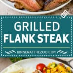 This grilled flank steak is coated in a flavorful marinade, then cooked on a grill until perfectly tender and juicy.