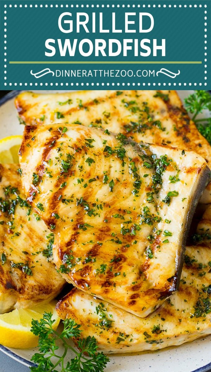 This grilled swordfish is marinated in lemon, garlic, olive oil and herbs, then seared on the grill until golden brown.