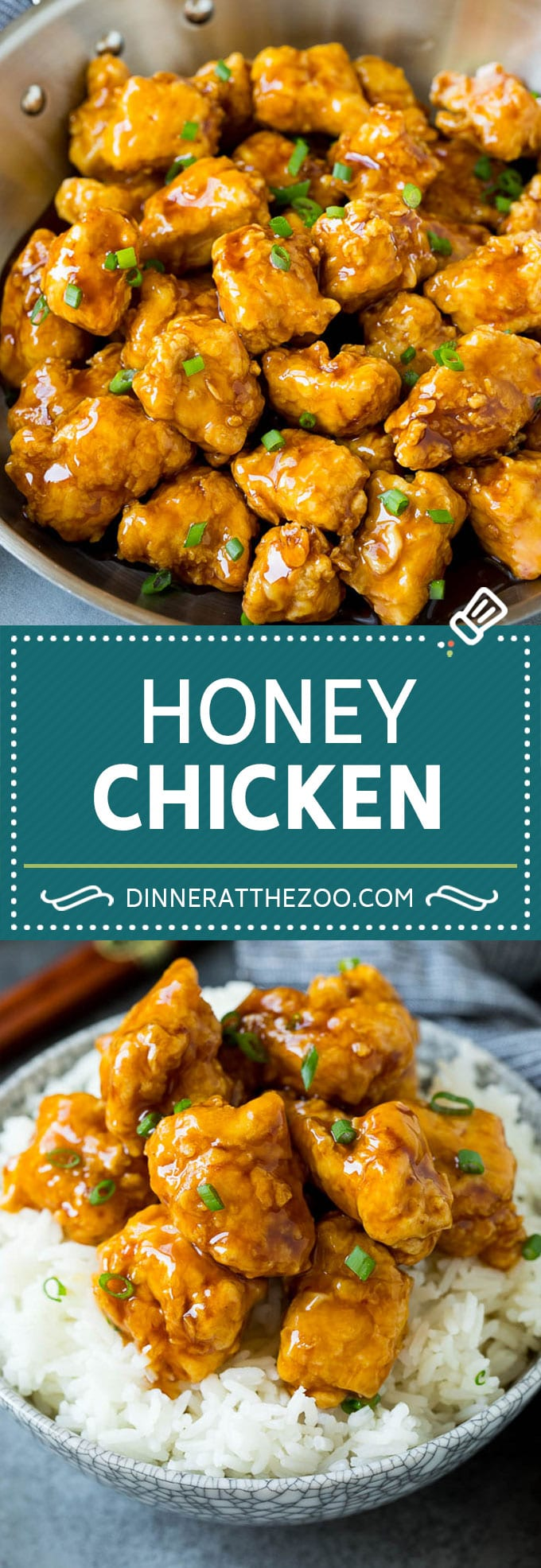 This honey chicken is crispy pieces of chicken breast that are fried to golden brown perfection, then tossed in a sweet and savory honey sauce.