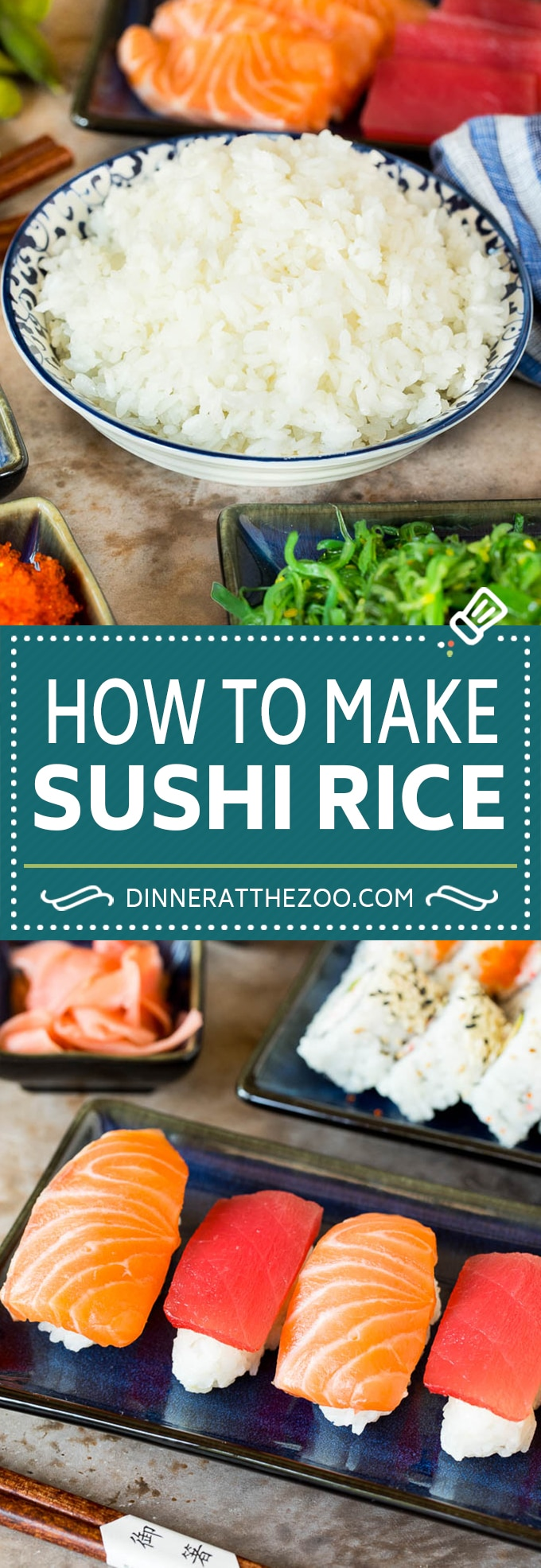 This sushi rice is a simple blend of rice, sugar, vinegar and salt that makes the perfect foundation for any type of sushi.