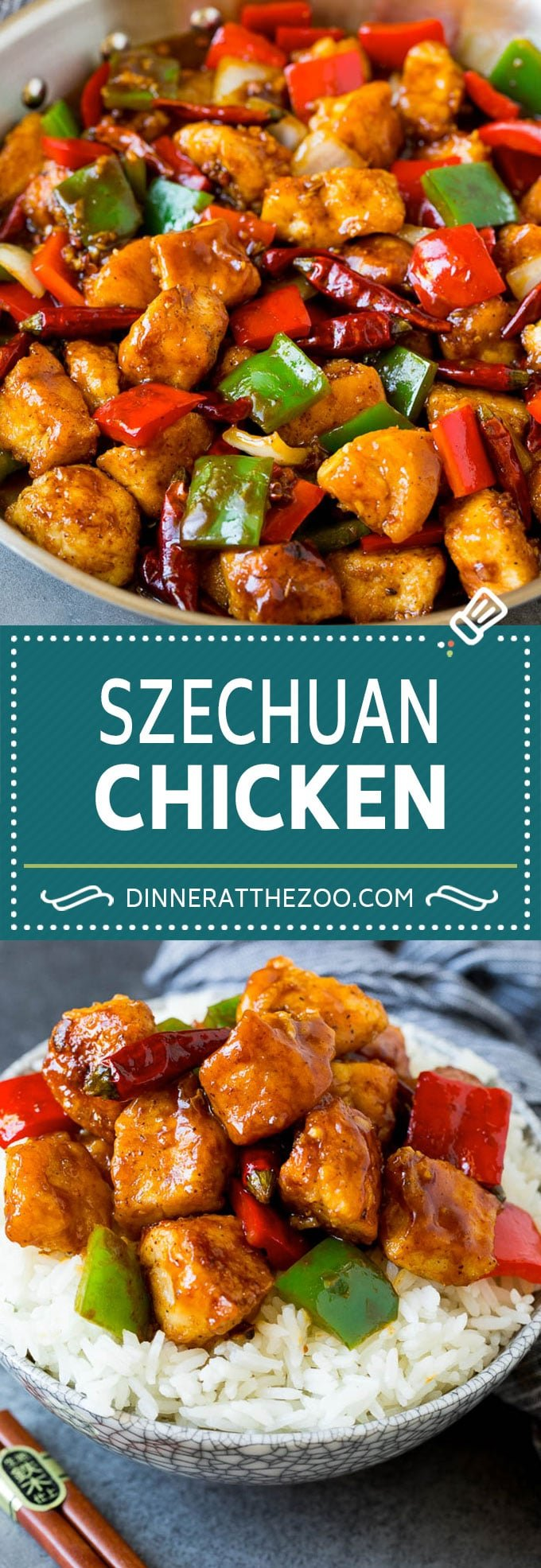 This Szechuan chicken is a spicy stir fry made with tender pieces of chicken and colorful vegetables, all tossed in a sweet and savory sauce.