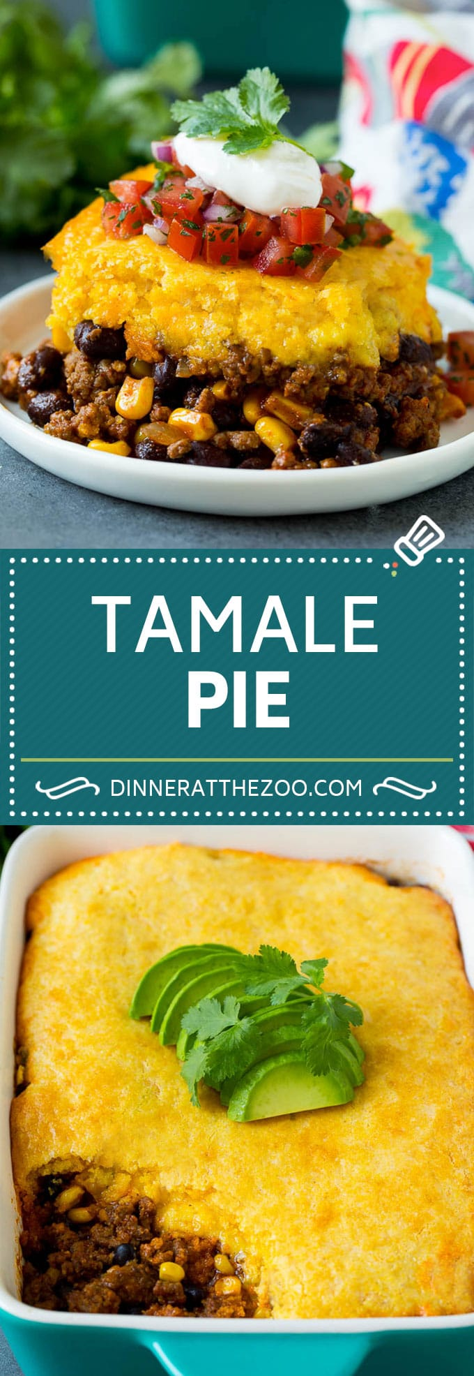 This tamale pie is seasoned ground beef, corn and beans baked together with cheddar cornbread to make a hearty and comforting casserole.
