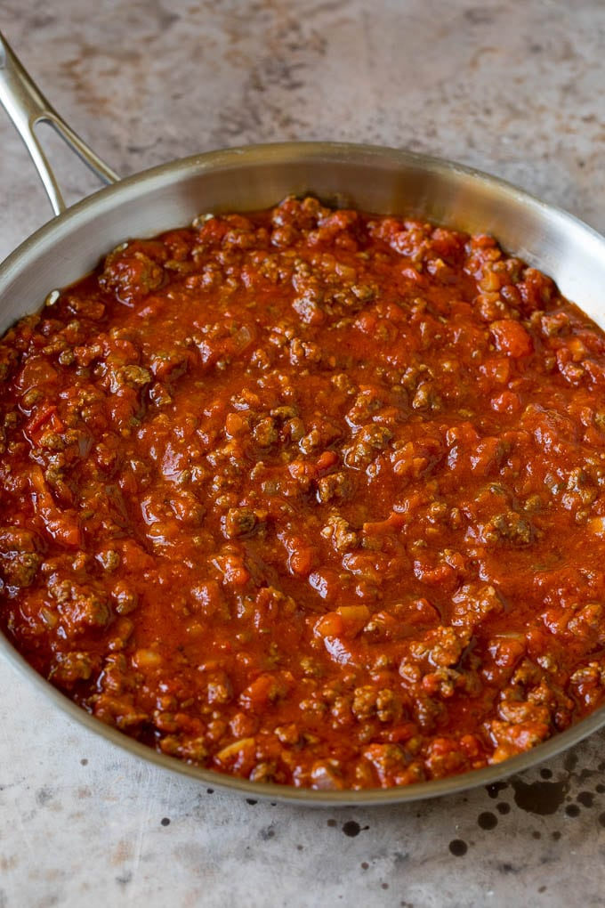 Meat sauce in a skillet.