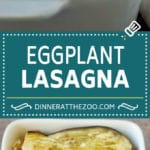 Low carb eggplant lasagna with layers of meat sauce, roasted eggplant and three types of cheese.