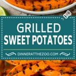 These grilled sweet potatoes are cut into wedges then cooked on the grill until smoky and tender.
