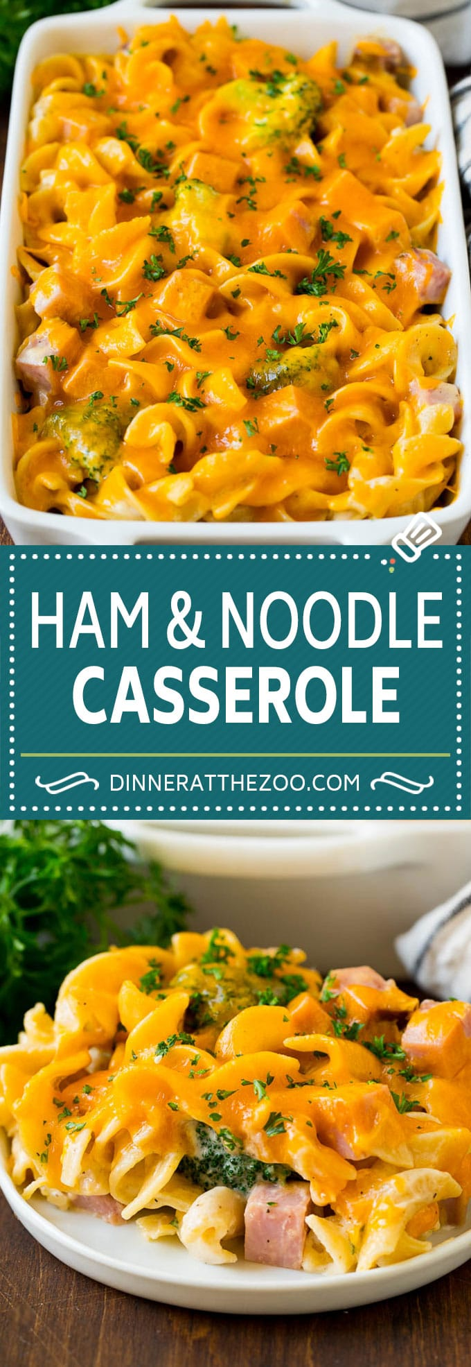 This ham casserole is egg noodles, broccoli and diced ham in a creamy sauce, all topped with cheese and baked to golden brown perfection.